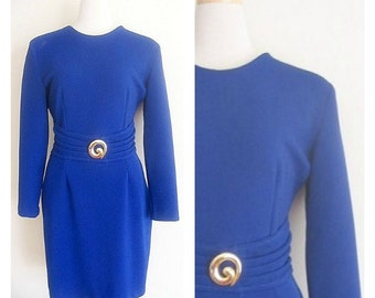 SALE - Vintage 1980's Blue Violet Joseph Ribbkoff Sheath Dress