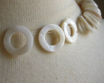 Natural Creamy White Mother Of Pearl 20mm Round Donuts 4 pieces