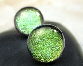 Sparkling Dichroic Glass Lime Green Studs, Hypoallergenic Post Earrings, Boho Chic, Fused Glass Posts, Stud Earrings, Lime Green Posts