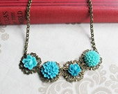 Thalassa Necklace Flower Cabochon Turquoise Blue Brass Brown Cute Charm Jewellery by dspdavey on Etsy - dspdavey