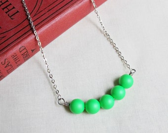 Neon Green Bar Necklace Swarovski Crystal Pearl Beaded Jewellery. Fluorescent Summer Bright Modern Jewelry. Two Cheeky Monkeys Teens Beach