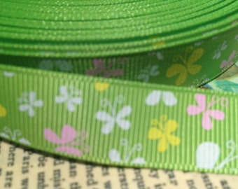 "3 yards 5/8"" Spring Butterflies on Green  sold by the yard"