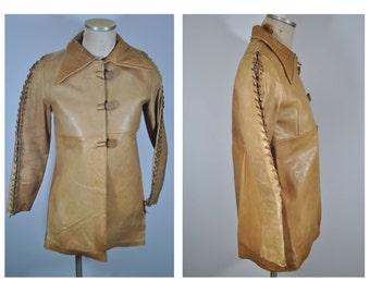 vintage leather jacket 1960s custom hippie couture 60s whipstitch one of a kind
