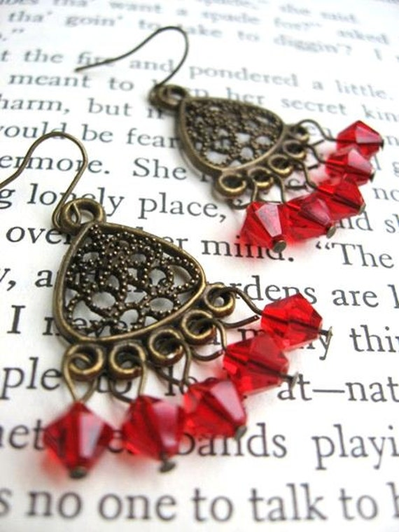 Antique Gold and Red Dangle Earrings