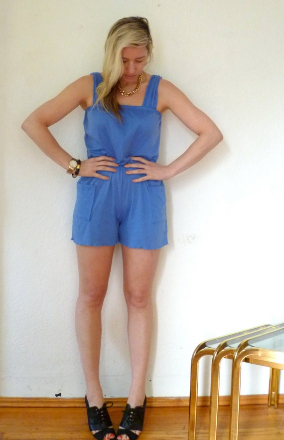 Vintage Jumper Romper Shorts One Piece Royal Blue Sleevless Onesy