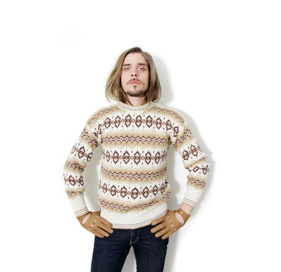 Vintage sweater / Benetton beige and brown wool jumper / by nemres