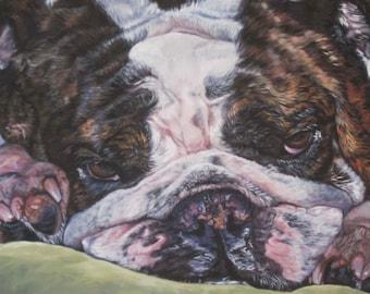 "ENGLISH BULLDOG dog art portrait canvas PRINT of LAShepard painting 11x17"""
