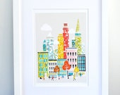 New York : City Art Print / Cityscape Art Print / New York Poster / New York Illustration