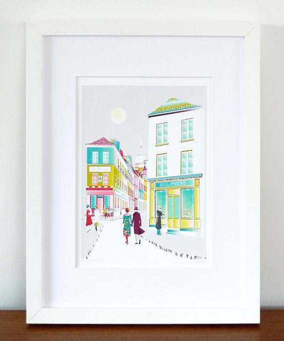 Paris, Montmartre, France: Wall Art / Paper Art Print / Skyline Art Print / Cityscape / Illustration / For Home, Office and Nursery