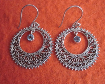 Balinese Sterling Silver circle Topaz Dangle Earrings / 1.65 inch long  / silver 925 / Bali Handmade Jewelry