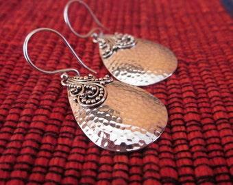 Balinese Sterling Silver Tribal style Earrings / 1.5 inch long / silver 925  /  Tribal style Earrings