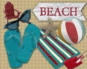 Retro Beach - Swimming Vacation Seashells Swimring Seahorse Towel - Printable Download and Print Digital Sheet (in both jpeg and png format)