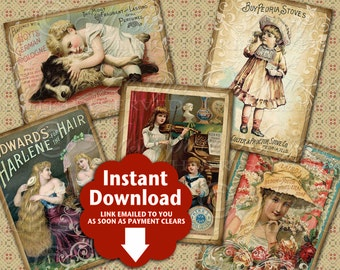 Victorian Advertising Printable Hang Tags / Advertisements / Trade Cards Printable Tags, Gift Tags, Instant Download and Print Collage Sheet