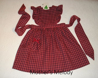 Plaid Jumper, size 4, Pinafore style in Red, Navy and Green.  Ready to Ship.