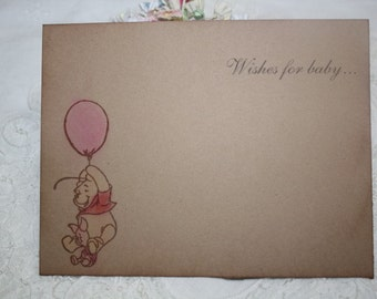 Baby Shower Wish Cards - Classic Pooh - Pooh with Pink Balloon - Baby Girl - Set of 12