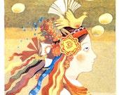 "Vintage Soviet Illustration ""Crown of Life"" Eastern European Folk Art - Russian Fairy Tale Print"