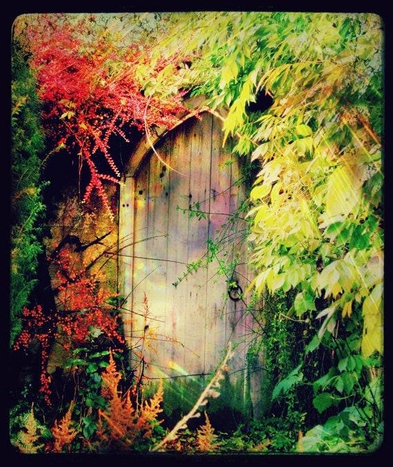 Art For The Garden: Overgrown Garden Door Art Print The Secret Garden