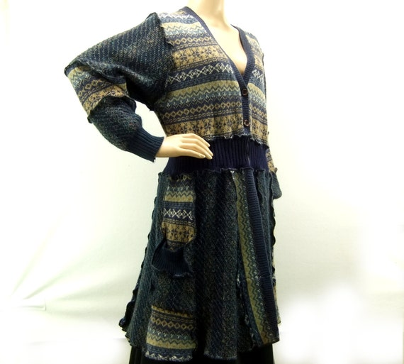 sweater tunic blue and tan small women sweater, nordic cardigan sweater 243