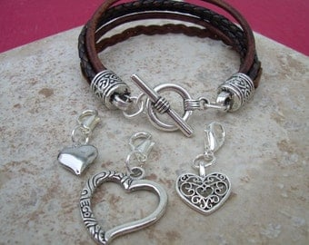 Heart Charm Bracelet, Three  Lobster Clasp Heart Charms, Antique Brown, Womens Bracelet, Womens Jewelry, Leather Jewelry,  Bracelet