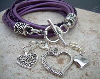Purple Wrap Bracelet, Womens Leather Bracelet,Charm, Double Wrap, Metallic Berry / Purple with Three heart Charms, Womens Jewelry