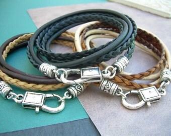 Leather Wrap Bracelet, Braided Bracelet, Wrap Bracelet, Leather Bracelet, Mens Bracelet, Bracelet, Mens Jewelry, Womens Jewelry, Triple Wrap