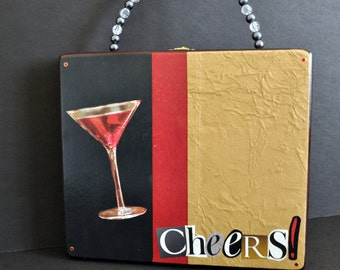 Cosmo Martini Cigar Box Purse, Cocktail purse, black and gold evening bag, cheers, party handbag