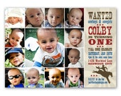 Little Buckaroo First Birthday Invitation - a photo collage of your baby's first year (No. 21012)