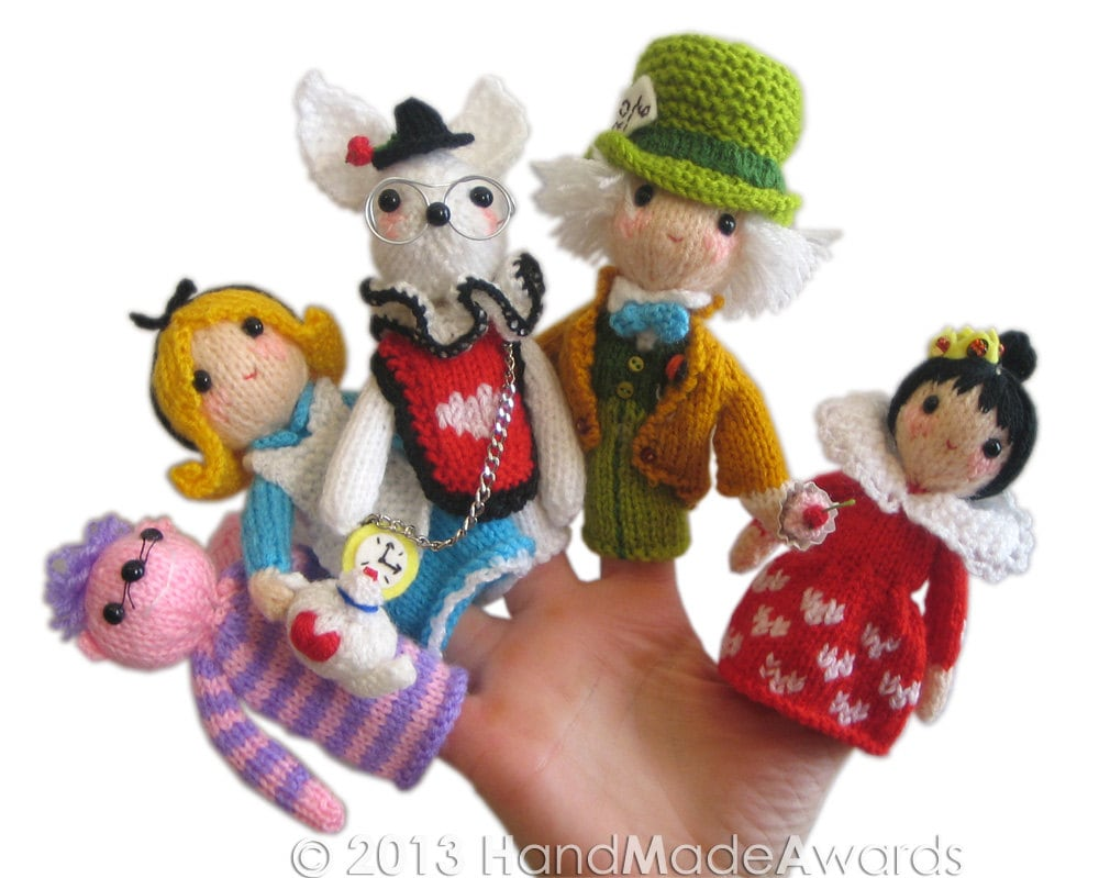 Knitting Patterns For Finger Puppets Free : ALICE in WONDERLAND Finger Puppets Pdf Email Knit PATTERN