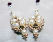 """Once Upon a Time Snow White Inspired Swarovski Crystal Earrings Beadweaving Sterling Silver -  """"The Fairest"""""""