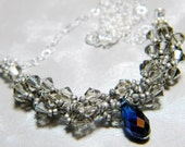 """Doctor Who Weeping Angel Inspired Swarovski Crystal Necklace Greige Dark Sapphire Beadweaving Sterling Silver - """"Don't Blink"""""""