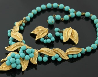 Vintage Gilt and Turquoise Necklace with Earrings