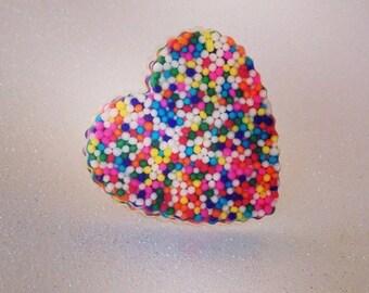Scalloped Heart Sprinkle Ring (Adjustable)