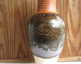 Vintage Royal Haeger Vase Tall Earth Tone Drip Glaze Mid Century Pottery