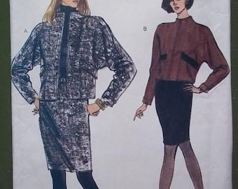 """vintage VOGUE 7906 jacket skirt sewing pattern misses size 8 10 12 bust 31 to 34""""  slim skirt unlined jacket UNCUT FF"""