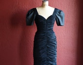 Vintage 80s Sexy Black Draped Silky Knit And Taffeta Puff Sleeve Cocktail Dress - By Morton Myles For Warrens - Size 6 Small
