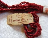 Antique 1930's Belding Bros Silk Rope Embroidery Floss Skein Gorgeous Deep Cherry Red - FiniRibbon
