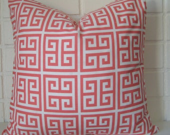 Greek Key Coral pillow cover accent pillow throw pillow 20 inch