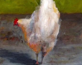 Chicken Painting- A Chicken and it's Shadow  - Paper Print of an Original Acrylic Painting by Cari Humphry