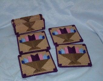 SALE-quilt design set of coasters and holder