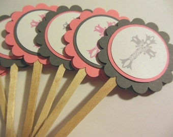 Christening, Communion, Confirmation, Baptism, Easter Cupcake Toppers - set of 12