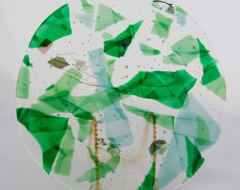 Green fused glass cheese platter