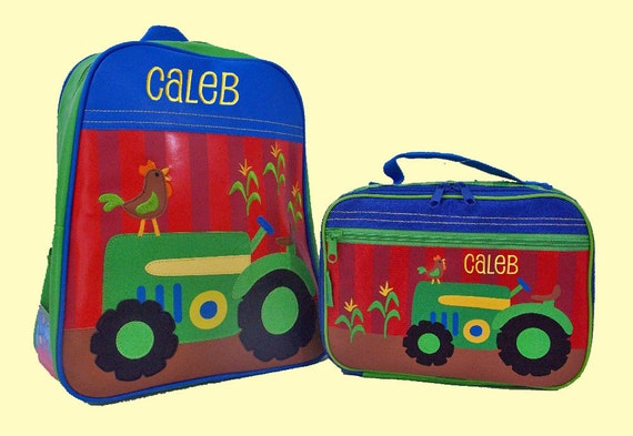 Child's Personalized Stephen Joseph GoGo TRACTOR Themed Backpack and Lunchbox School Set-Monogramming Included In Price