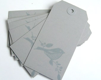 Grey Bird Tags - Set of 12 Tags - Favor Tags - Gift Tags - Wedding Supplies