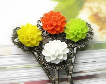 Flower Hair Pins, White Green Yellow Orange Chrysanthemum Flower Bobby Pins, Hair Accessories, Floral Bobby Pins, Gift Ideas for Girls