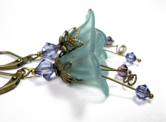 Vintage Style Purple Teal Lucite Flower Dangle Earrings, Gifts for Gardeners, For Her, Womens Accessories, Swarovski Jewelry, Grayed Jade
