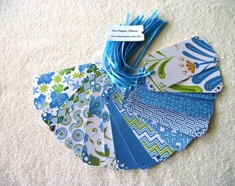 100 WEDDING WISH TREE Tags- Escort Cards - Dcwv  White Ginger  Stack  - Blue Shades