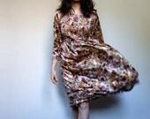 70s Boho Dress Fall Smocked Midi Beige Burgundy Blue Long Hippie Floral Dress - Medium M