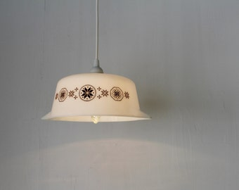 PYREX Bowl Pendant Lamp - Upcycled Hanging Lighting Fixture made with a Vintage Town and Country Casserole Dish - OOAK BootsNGus Lamps