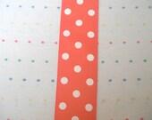 Wide Orange and White Polka Dot Print Grosgrain Ribbon - 3 Yards