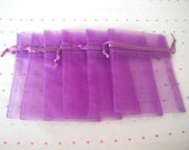 Purple Drawstring Organza Bags, 3x4, Gift Bags (12)